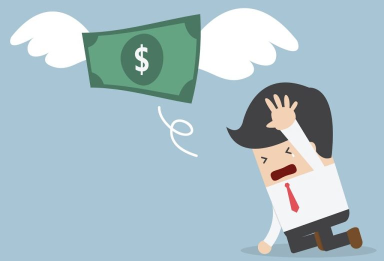 money with wings flying away from man crying