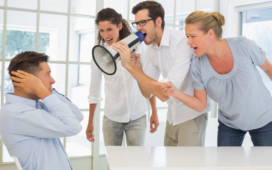 Co-workers harassing and bullying a person in the office